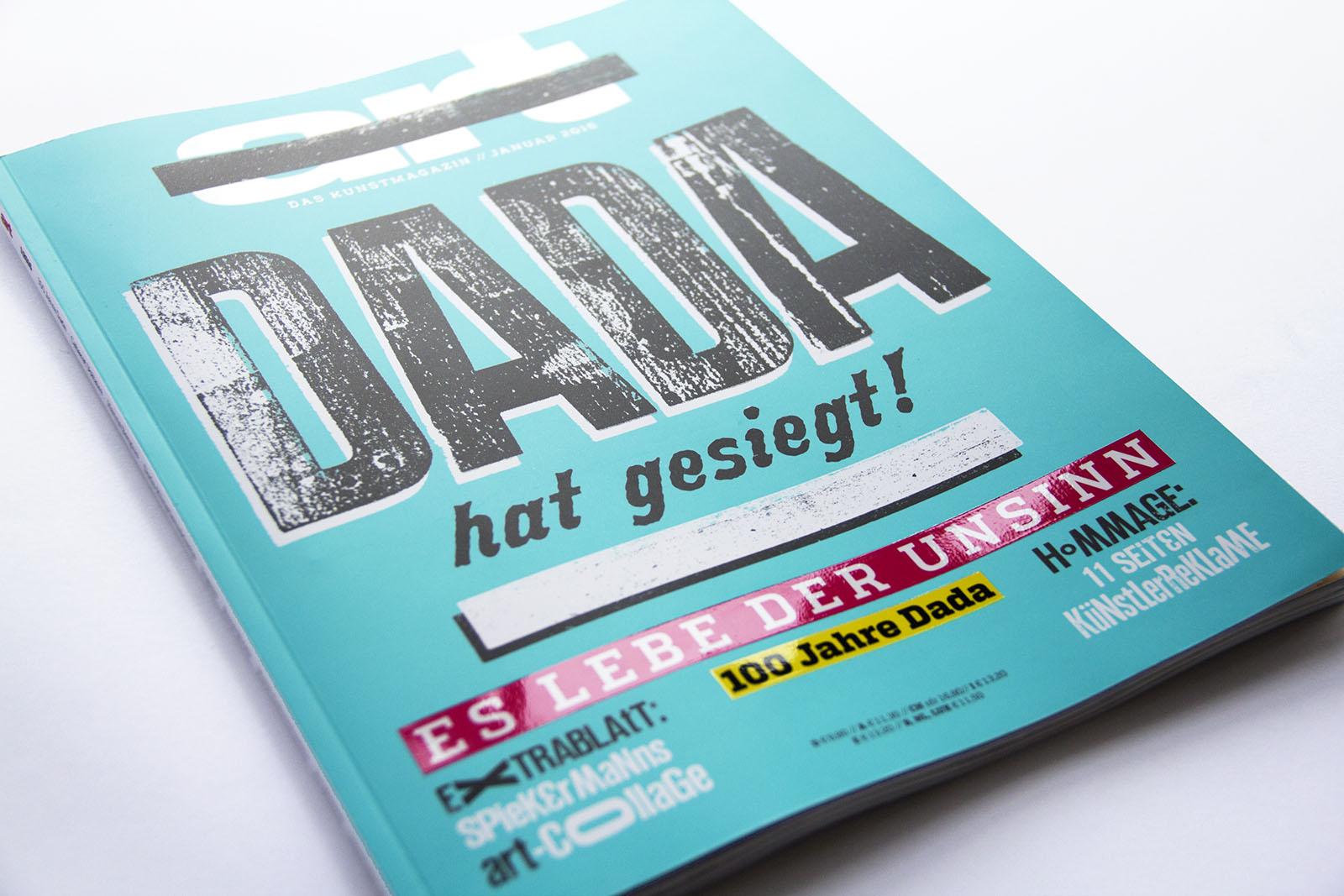 Covergestaltung für das ART Magazin zum DADA Schwerpunkt, Januar 2016
