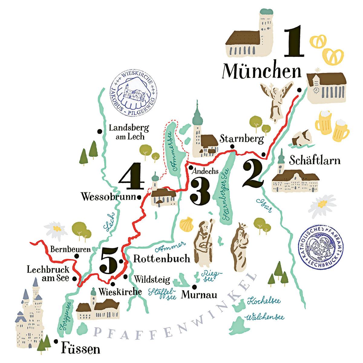 Illustrierte Karte vom Jakobsweg bei München, GEO Special 3/15
