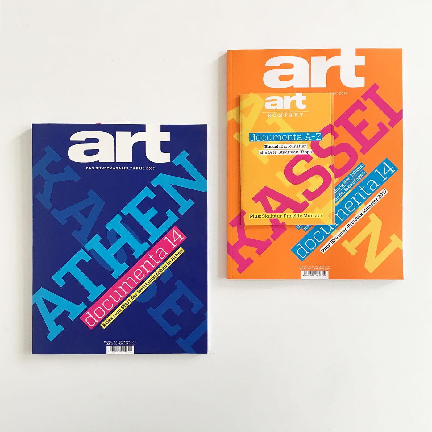 Coverdesign von Chris Campe, documenta-14-Ausgaben des ART Magazins
