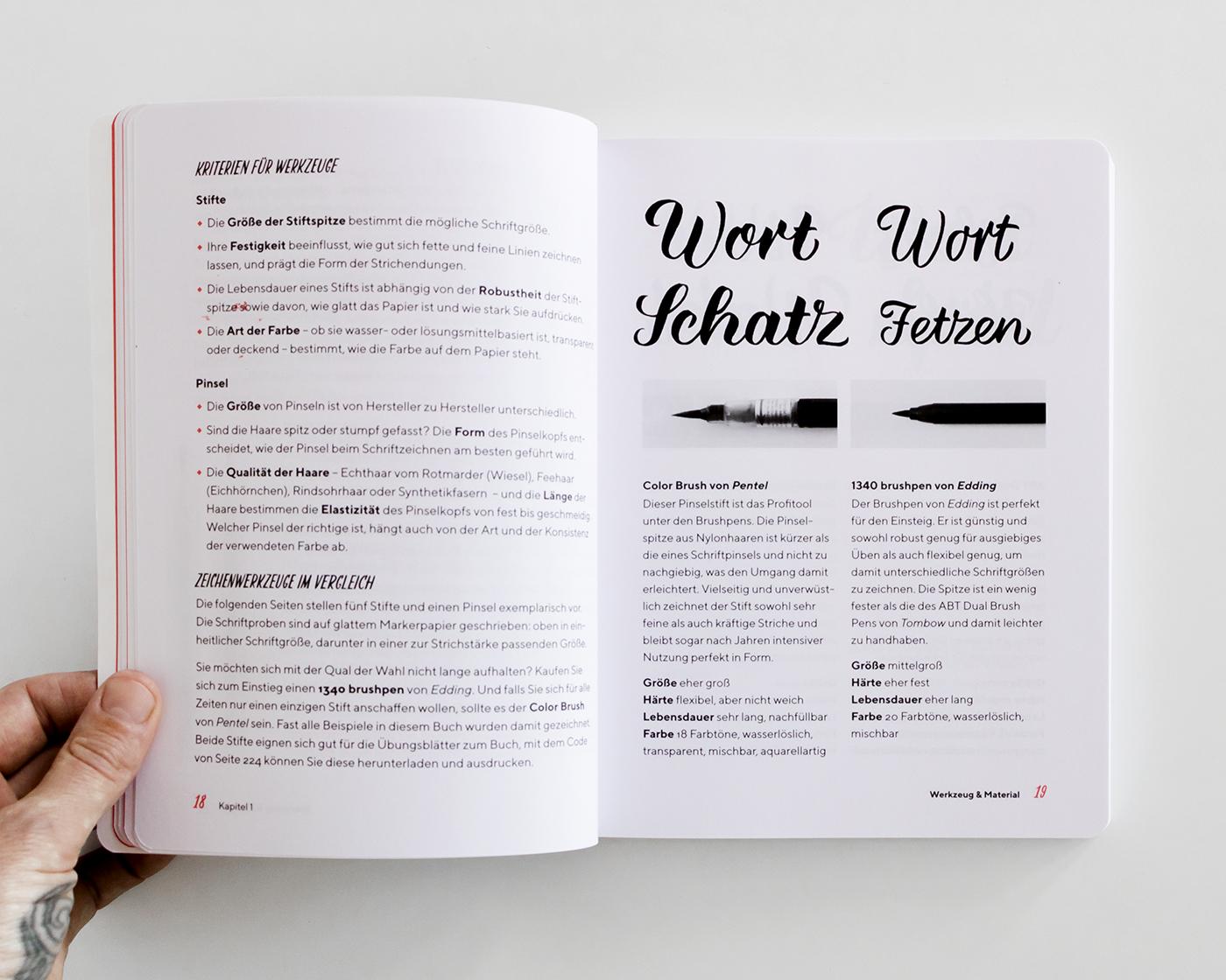 """Kapitel 1 """"Werkzeug und Material"""", """"Praxisbuch Brush Lettering"""" von Chris Campe"""