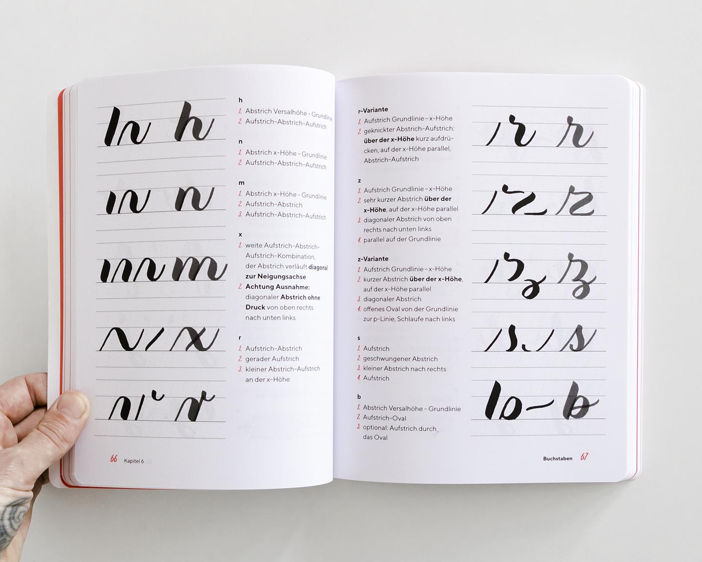 """Doppelseite aus dem Kapitel """"Grundstriche"""", """"Praxisbuch Brush Lettering"""" von Chris Campe"""