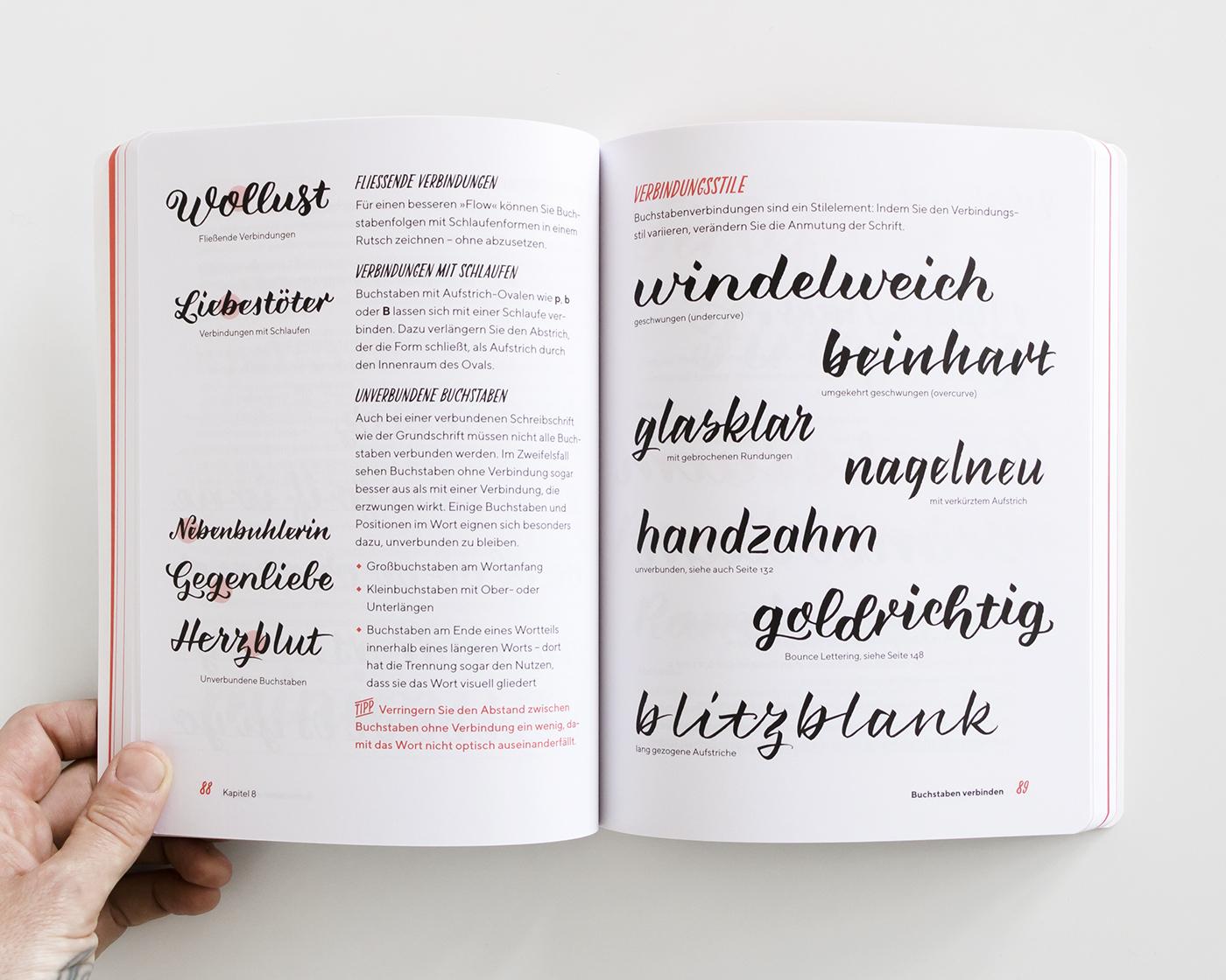 """Brush Lettering Beispiele im Kapitel """"Buchstabenverbindungen"""", """"Praxisbuch Brush Lettering"""" von Chris Campe"""