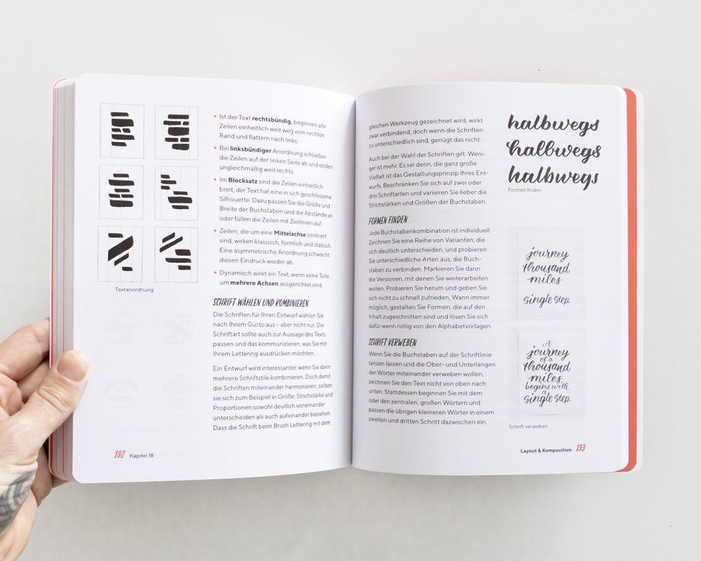 "Doppelseite aus dem Kapitel ""Layout & Komposition"", ""Praxisbuch Brush Lettering"" von Chris Campe"